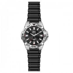 Ρολόι Χειρός  Q&Q Black Rubber Strap Q834J302Y