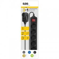 SAS 100-11-033 Πολύπριζο προστασίας υπέρτασης 6+1 θέσεων